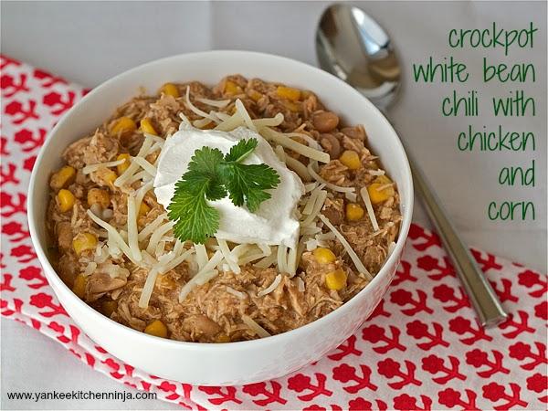 Crockpot White Bean Chili With Chicken And Corn Yankee Kitchen Ninja