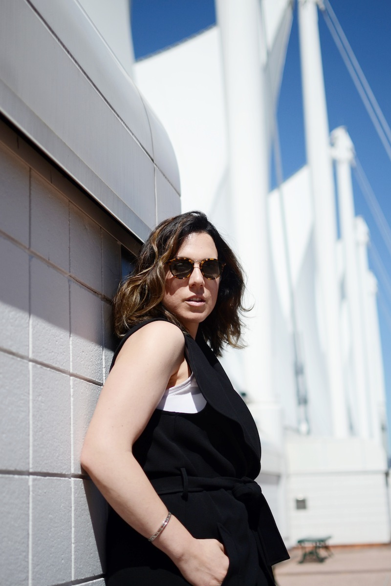 Le Chateau waterfall duster vest black and white chic office look Vancouver fashion blogger