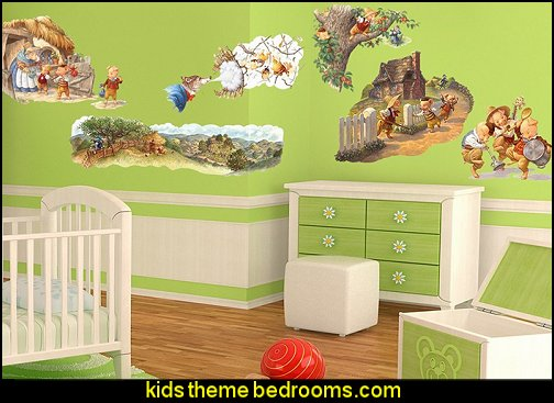 Three Little Pigs Wall Decal   Nursery Rhyme themed nursery decorating - Moon stars twinkle twinkle baby nursery decorating ideas -  storybook bedrooms - counting sheep baby bedroom ideas Humpty Dumpty decor - Mother Goose - moon stars baby bedding - Moon and Stars themed nursery - Nursery Rhymes wall murals - celestial themed baby nursery - moon stars wall stickers - stars clouds wall decals - moon stars baby bedroom ideas - moon stars nursery decor