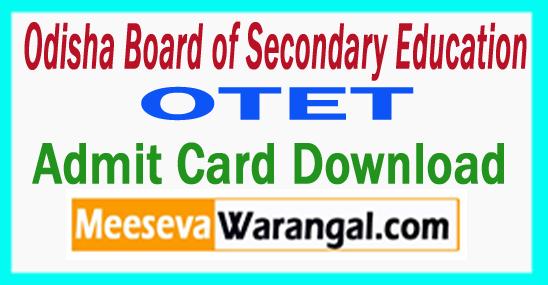 OTET Admit Card  Hall Ticket 2017 Download