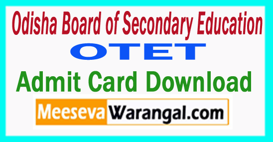 OTET Admit Card  Hall Ticket 2018 Download