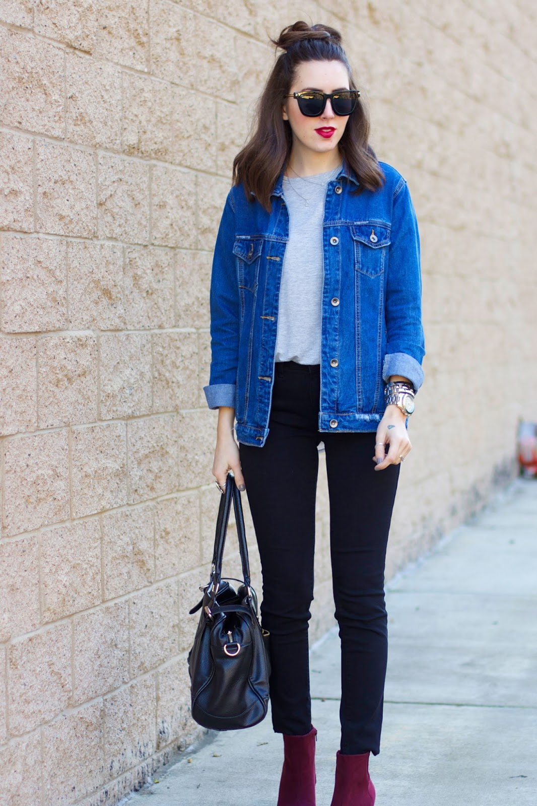 black-jeans-burgundy-booties-denim-jacket