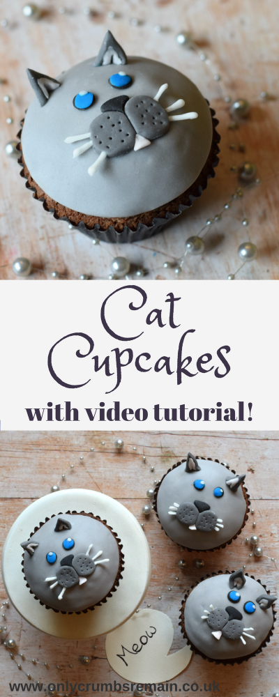 How to make effective cat cupcakes with fondant.  They're perfect for cat lovers and bake sales.  Post is complete with a how to video tutorial.
