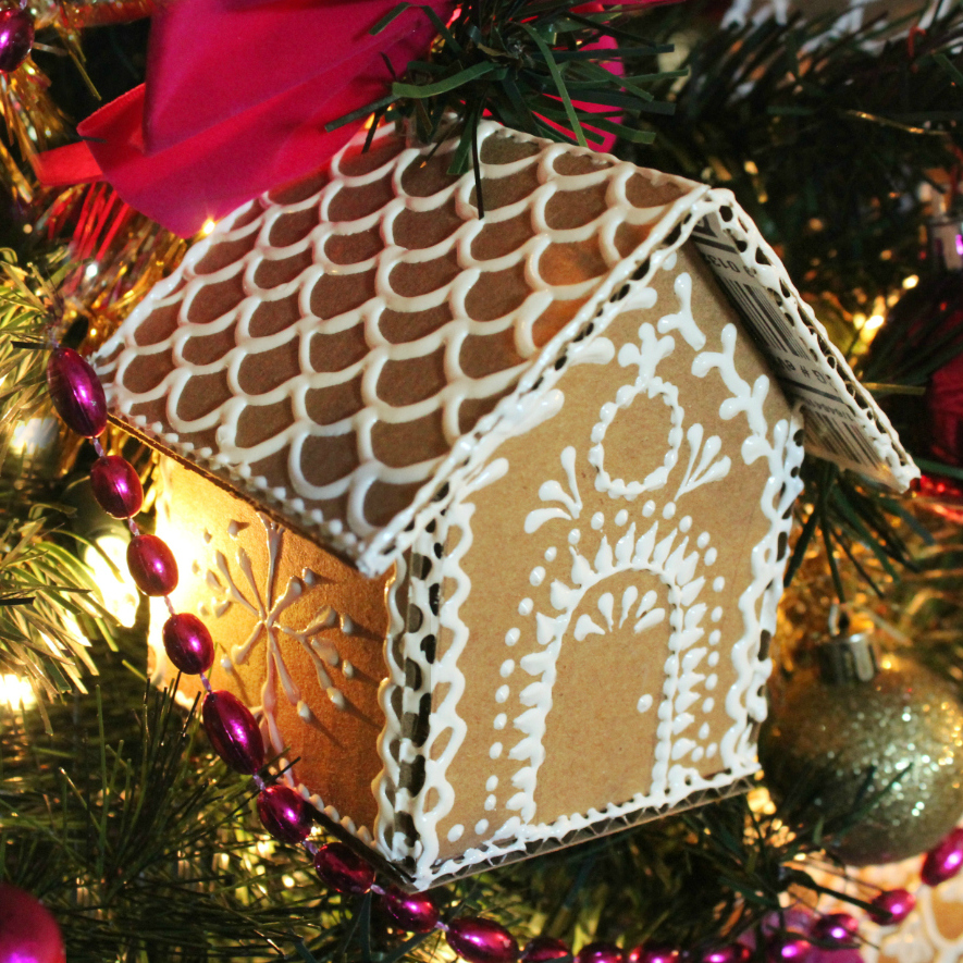 Mini Gingerbread House Diy: Mark Montano: Cardboard Gingerbread House Ornaments