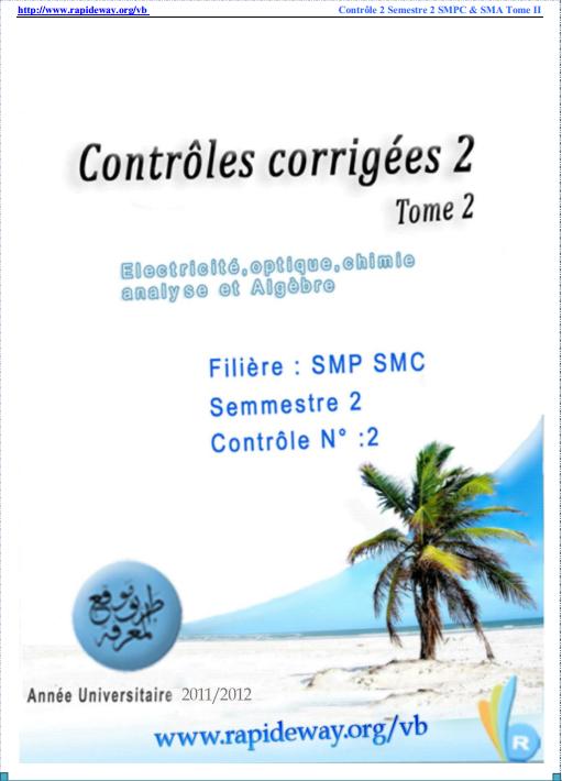 Tome 2 Contrôles corrigés SMPC SMA S2