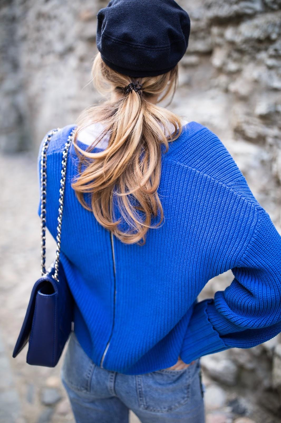 newsboy cap blue zipper detail sweater