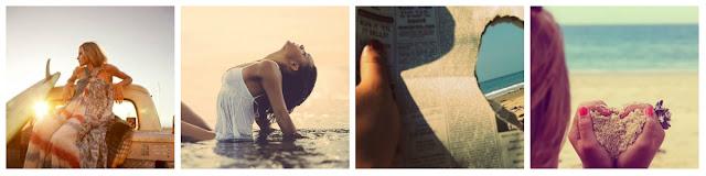 contra-luz, mulher na praia, jornal com coração, menina na praia fazendo coração com as mãos areia