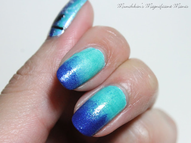 Blue and turquoise gradient Essie Viva Antigua and Loot the Botty