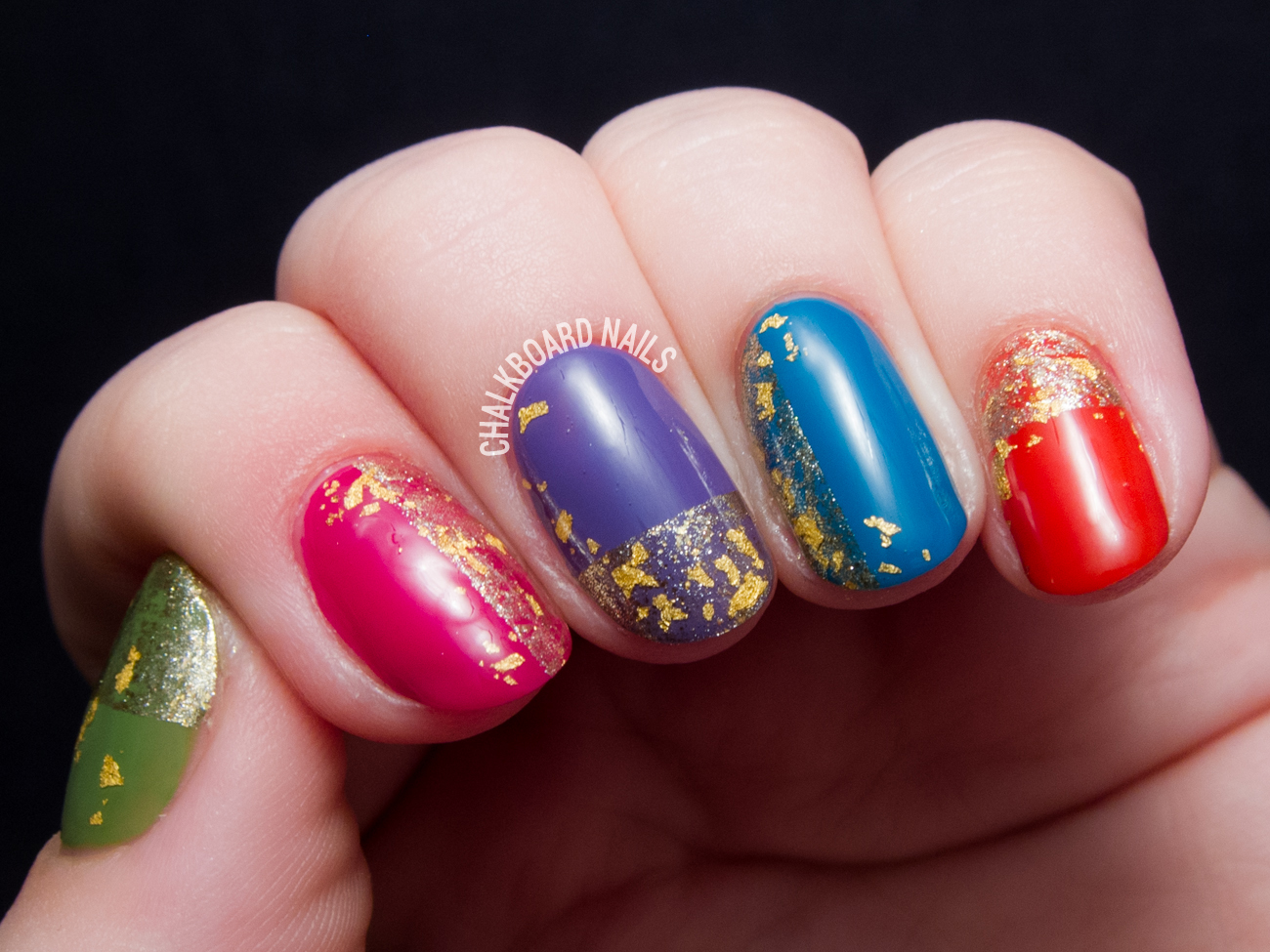 Gold and Jewels by @chalkboardnails