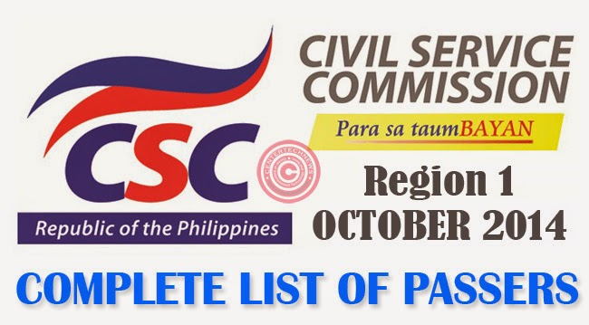 Region 1 Civil Service Exam Results October 2014- Paper and Pencil Test List of Passers