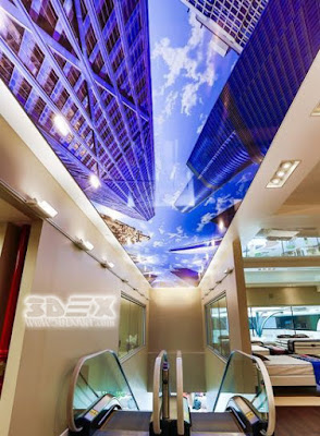 3D ceiling murals for commercial hallway ceilings