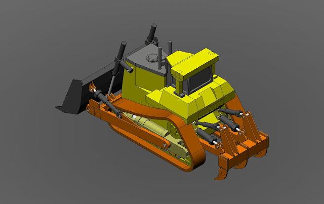 Gambar 3D Dozer/Buldozer DWG Gratis
