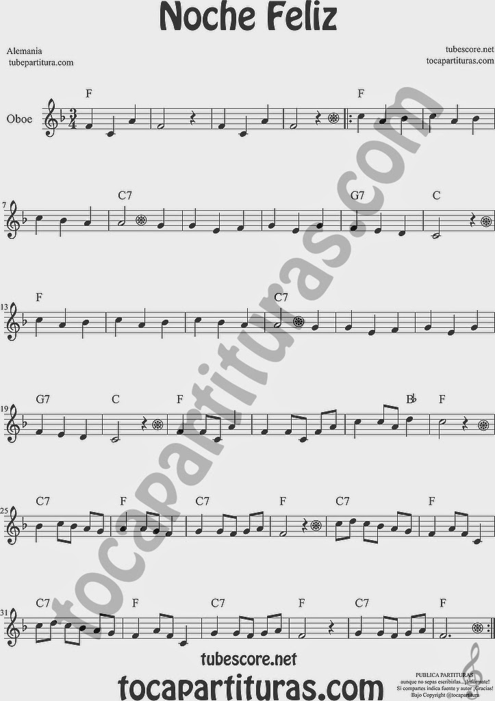 Noche Feliz Partitura de Oboe Sheet Music for Oboe Music Score