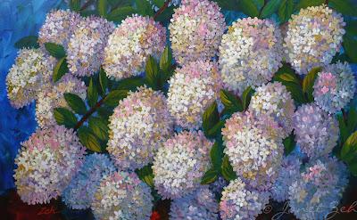 Hydrangea flower original acrylic painting