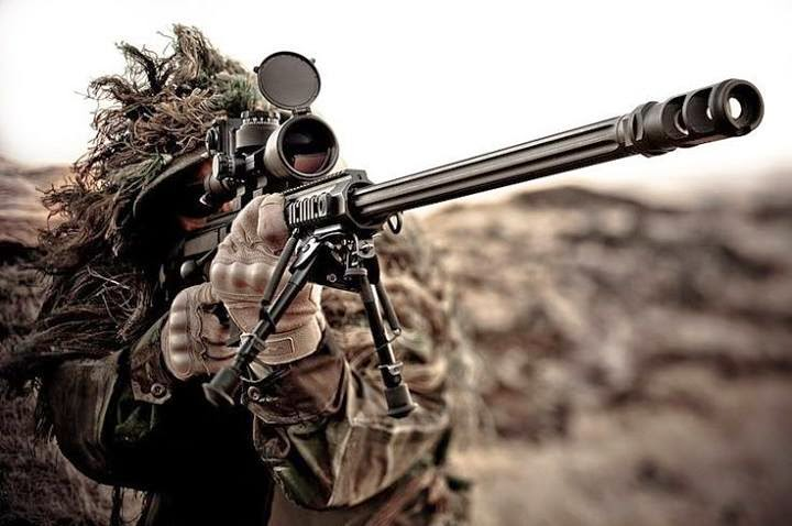 photo sniper masked with sniper rifle