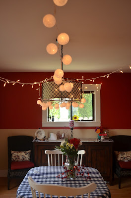 valentine's day dining room with lights and flowers