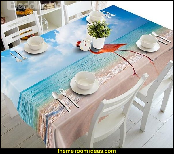 Blue Seaside and Flamingo Pattern 3D Tablecloth   kitchen accessories - fun kitchen decor - decorative themed kitchen  - novelty mugs - kitchen wall decals - kitchen wall quotes - cool stuff to buy - kitchen cupboard contact paper -  kitchen storage ideas - unique kitchen gadgets - food pillows