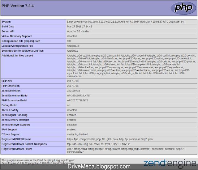Via web podemos verificar que modulos php y su version tenemos instalados en Centos