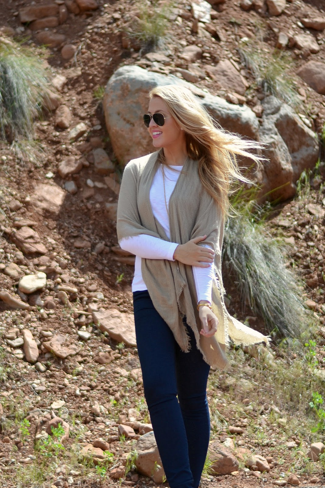 camel cape outfit
