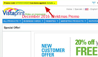 free Vistaprint coupons december 2016