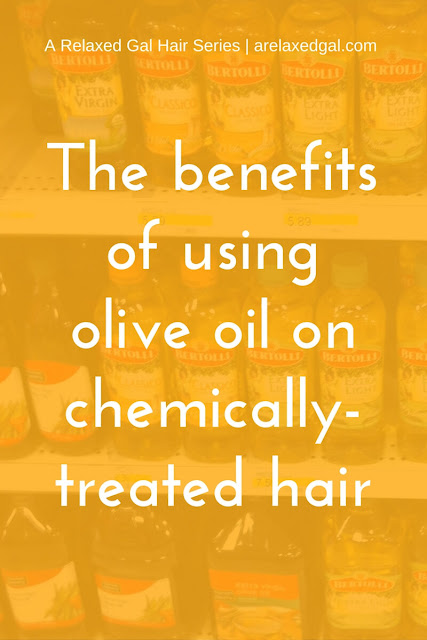 See the benefits of using olive oil on relaxed, colored or natural hair. Also check out these ideas on how you can use olive oil in your hair regimen. | arelaxedgal.com
