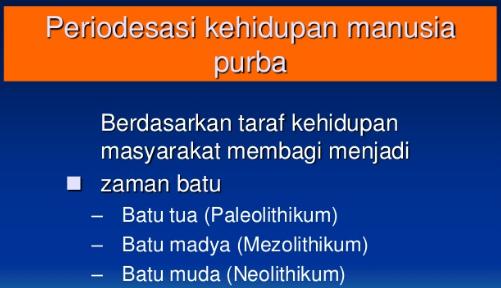 Periodisasi Kehidupan Paling Awal di Indonesia (Awal Kehidupan Manusia Purba di Indonesia)