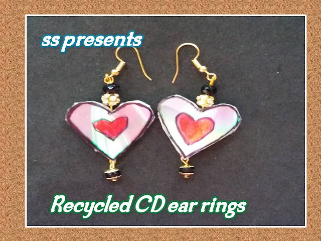 Here is Images for cd crafts,cd craft wall hanging, best out of waste cd,Images for cd earrings,Images for cd jewelry designs, Images for recycled cd jewelry tutorial,jewelry made from old cds,How to make heart shape ear rings with recycled cd for valentines day special ear rings with ola cd