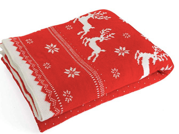 """NVEOP Premium Knitted Throw Blanket, Reversible Two-Sided Snowflake and Deer Blanket, Perfect, 51""""x71"""""""
