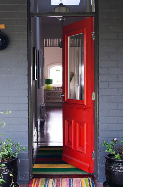 Yellow Notice On Front Door: Spicer + Bank: By Allison Egan: House Tour: Playful