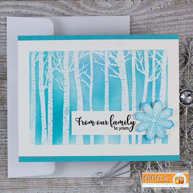 Winter Birch Trees Holiday Card with Masking and Distress Ink by Juliana Michaels. Stamp set is Warmer With You by Gina K Designs for Simon Says Stamp Stamptember.