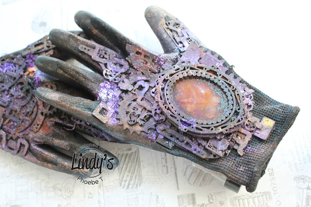 Mixed Media Altered steampunk glove by Phoebe Tonosaki