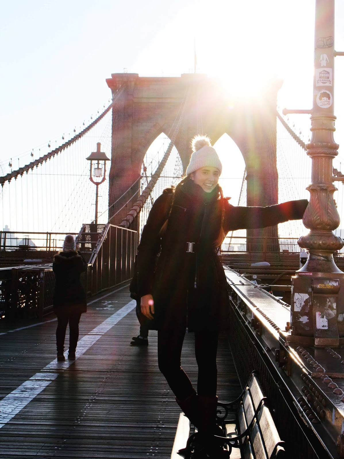 Girl on Brooklyn Bridge in Morning Sun