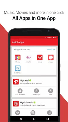 Music, Movie,Games,Hike Messenger And Much More in One Click With Airtel APK