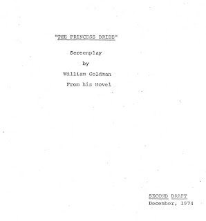 Title page to second draft of screenplay for The Princess Bride