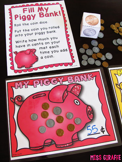 Counting coins activities and games that turn making change into a fun game with dice and these cute piggy bank mats