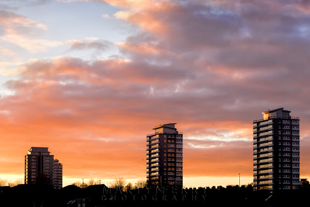 Sunderland tower blocks beneath the evening sunset clouds