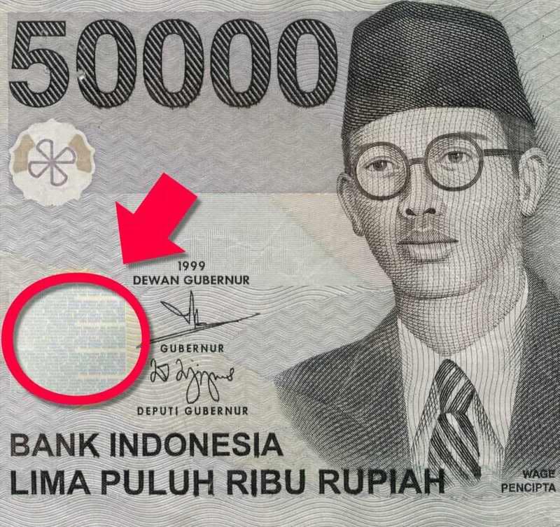 Pada uang 50.000 terdapat lagu indonesia raya