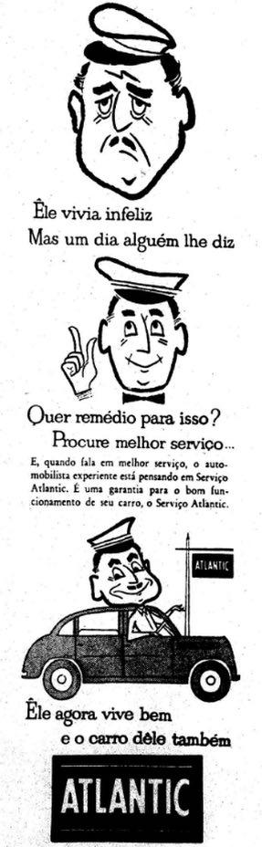 Campanha da Atlantic ofertando serviço de manutenção de automóveis no final dos anos 50