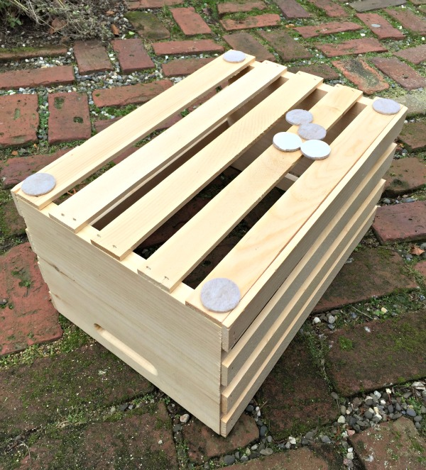 diy shoe storage bench felt pads under crates