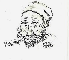 Pencil sketch of Khushwant Singh, late Indian author