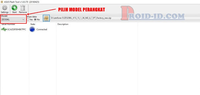 Klik Model Asus Flashtool