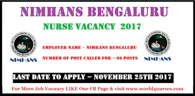 NIMHANS Bengaluru Post Registered Internee Nurse Vacancy November 2017