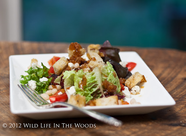Salad with Navy Beans, Goat Cheese, Grape Tomatoes and Warm Bacon Vinaigrette is more of a meal than a salad. #summer #summerrecipe #goatcheese #summersaladrecipe