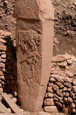 One of the 11,000-year-old columns found at Gobekli Tepe in Turkey,  made with stone tools before the Neolithic Revolution.