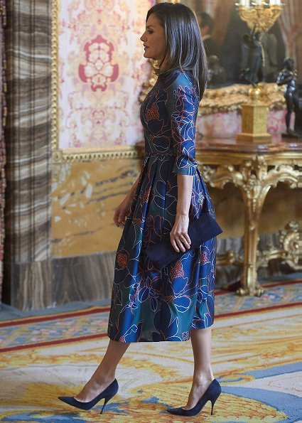 Queen Letizia wore a floral print midi dress by Carolina Herrera. Ida Vitale received 2018 Miguel de Cervantes Award, which is called the Nobel Prize