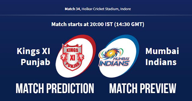 IPL 2018 Match 34 KXIP vs MI Match Prediction, Preview and Head to Head Who Will Win