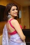 South Indian Model Shraddha Das Stills In Transparent Blue Saree