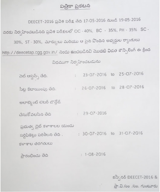 AP DEECET 2016 Counselling Schedule, Web Options Entry Dates