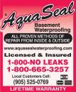 Aquaseal Wet Leaky Basement Solutions Specialists | Wet Basement Hamilton 1-800-NO-LEAKS