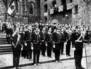 Mossos d'Esquadra en la procesión del Corpus de Barcelona (1967)